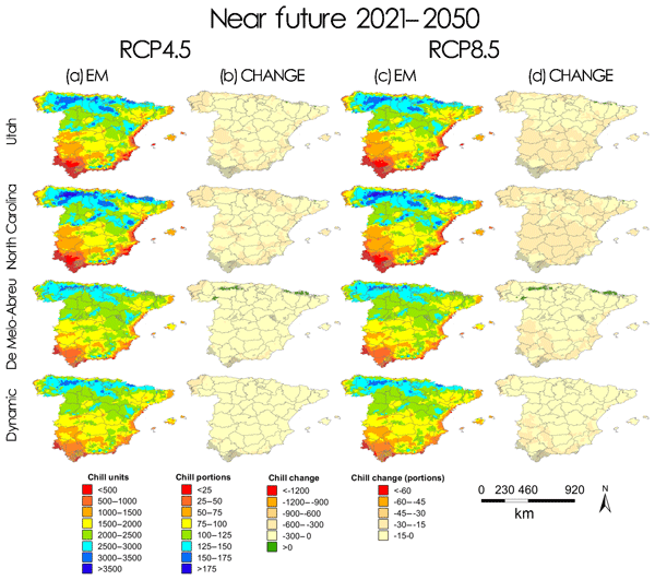 NHESS - Relations - Chilling accumulation in fruit trees in Spain